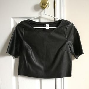 Divided faux leather (pleather) cropped top